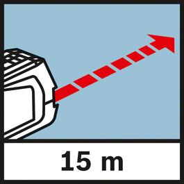 작업 거리 최대 15 m까지의 범위