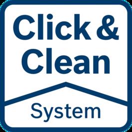 Click & Clean 시스템 – 3대 장점 가공물을 깔끔한 상태로 확인: 더욱 정밀하고 신속한 작업 가능 유해 분진 즉시 추출: 작업자의 건강 보호 분진 감소: 공구 및 액세서리의 수명 연장
