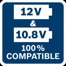 모든 Bosch Professional 10.8V 공구, 배터리 및 충전기는 모든 Bosch Professional 12V 공구, 배터리 및 충전기와 100 % 호환 가능