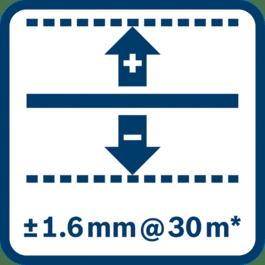 30 m에서 레벨링 정확도 ± 1.6 mm* (*사용 환경에 따라 편차가 있을 수 있음)