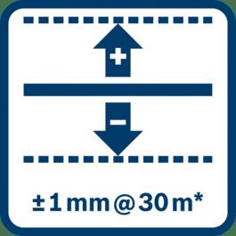 30 m에서 레벨링 정확도 ± 1 mm* (*사용 환경에 따라 편차가 있을 수 있음)
